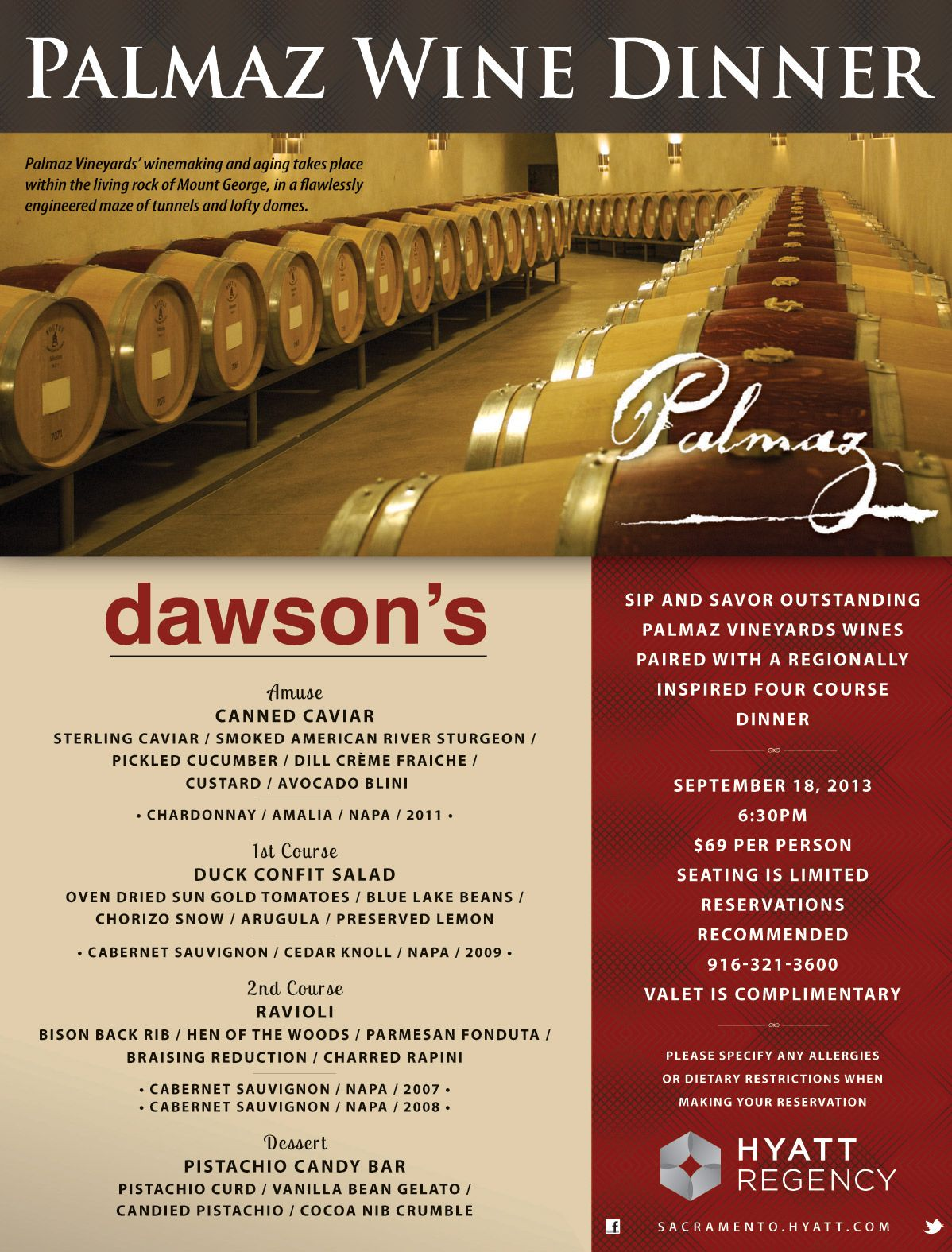 Sip And Savor Outstanding Palmaz Vineyard Wines Paired With A Regionally Inspired Four Course Dinner Seating Is Limited Wine Dinner Wine Pairing Wine And Dine
