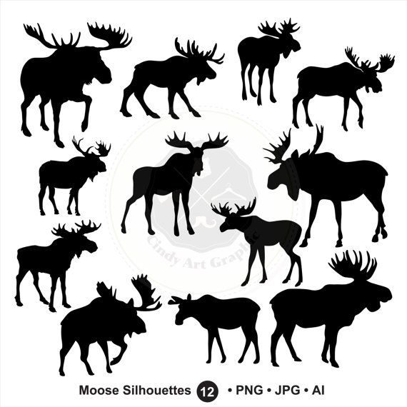 Moose Silhouettes Clipartmoose Clipartbull By Cindyartgraphic