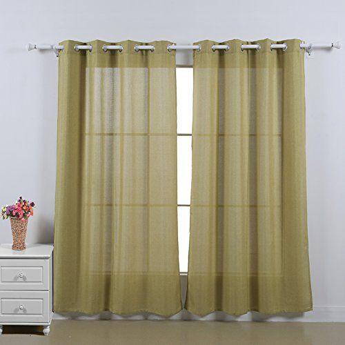 Deconovo Window Faux Linen 52x84 Grommet Curtain Panel Pair Yellow