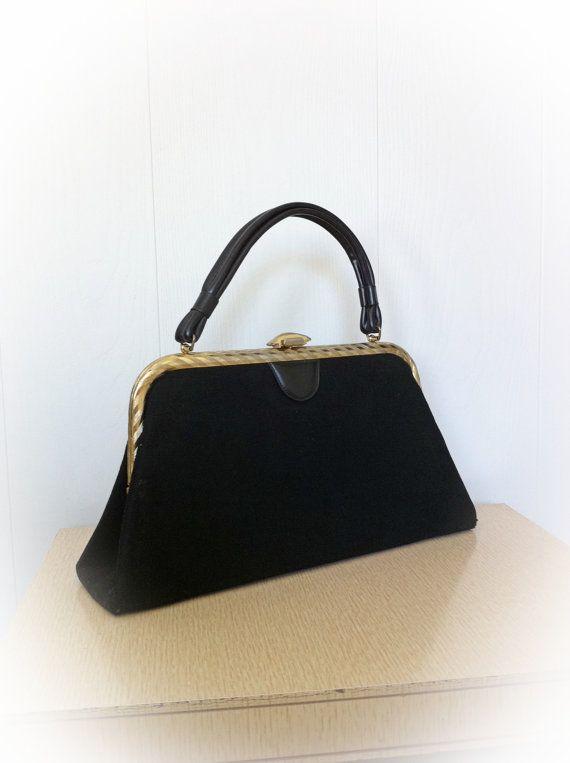 901b62532269a7 Vintage 1960s Purse Black Dover Handbag | Things I Sell | Purses ...