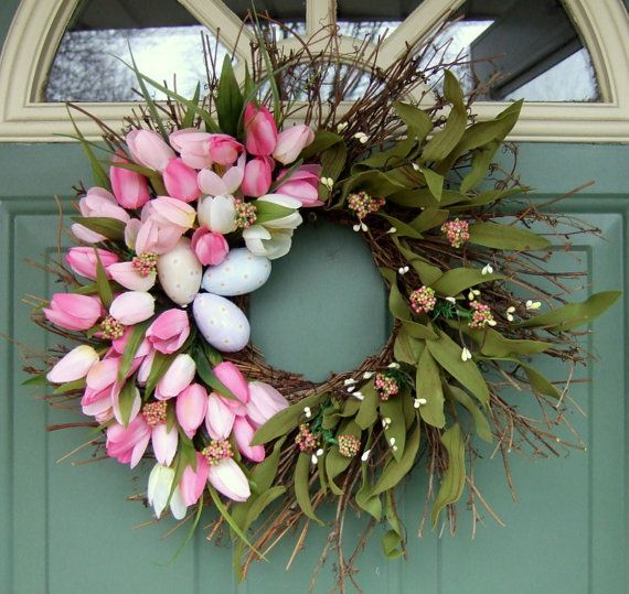 would love to make this -   tulip wreath for the front door of my cottage