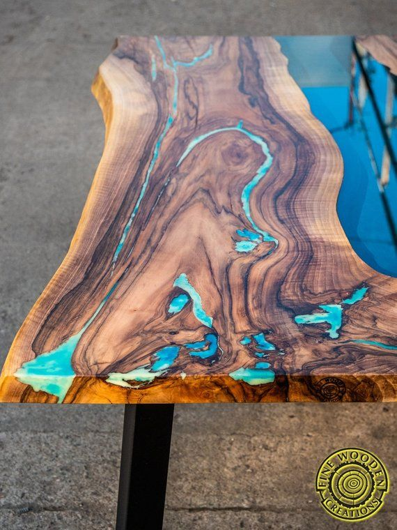 Rio Couchtisch Live Edge River Dining Table With Turquoise Glowing Resin