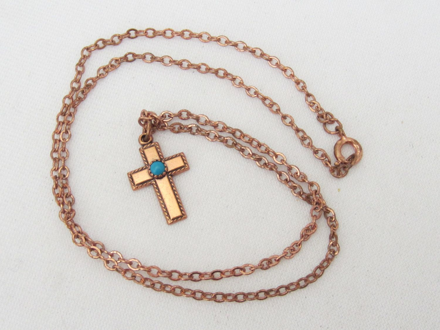 Vintage Solid Copper Turquoise CROSS Jewelry Pendant Chain 18'' Length by wandajewelry2013 on Etsy