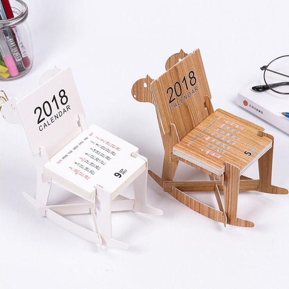 Cute Diy Wooden Horse Educational 2018 Desk Calendar Noted Book Supplies Schedule Accessory Creative Paper