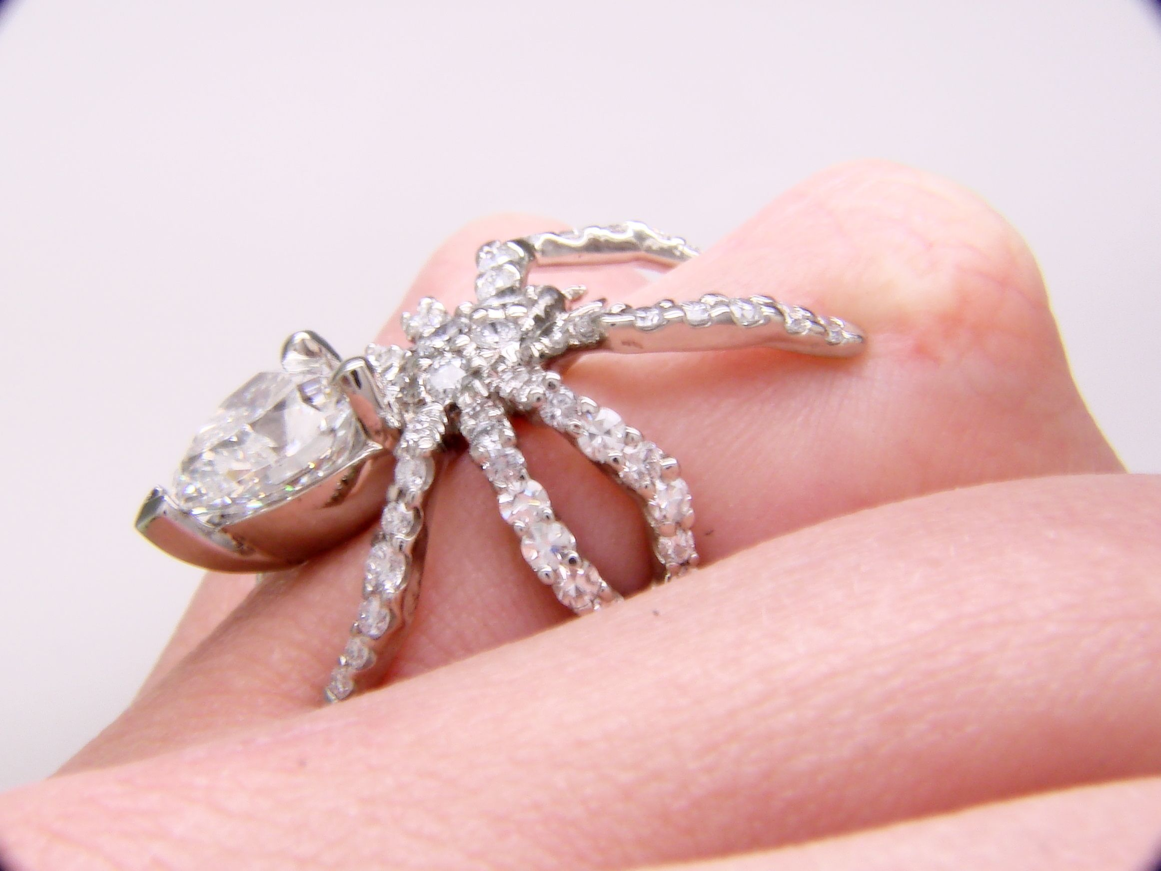 Spider Ring: 2ct heart-cut diamond in platinum | Jewelry | Pinterest ...