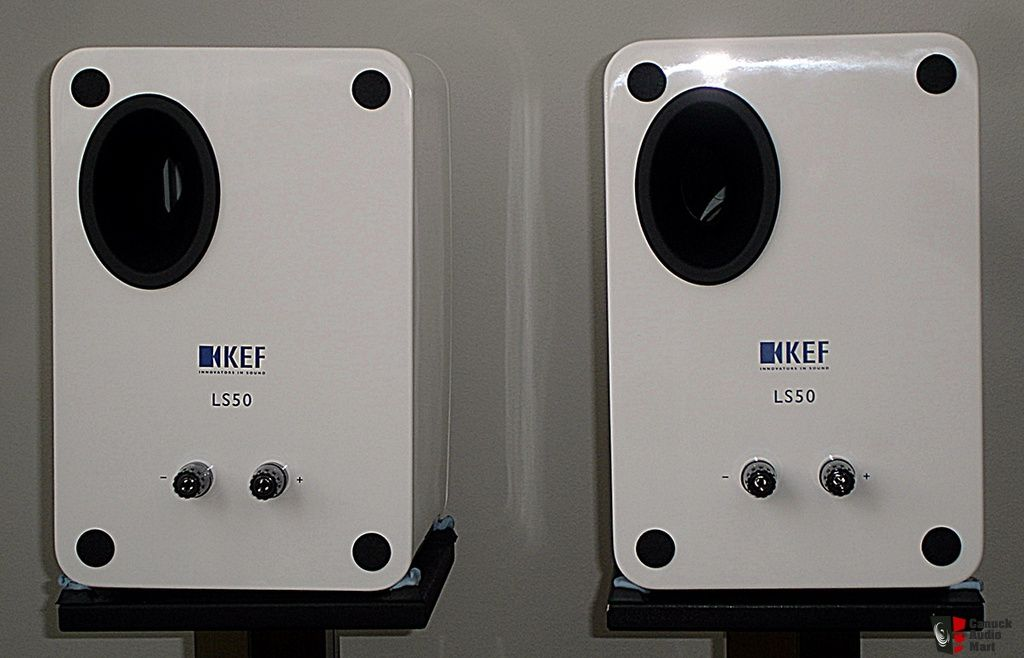 kef ls50 rear. kef ls50 white with blue drivers kef ls50 rear