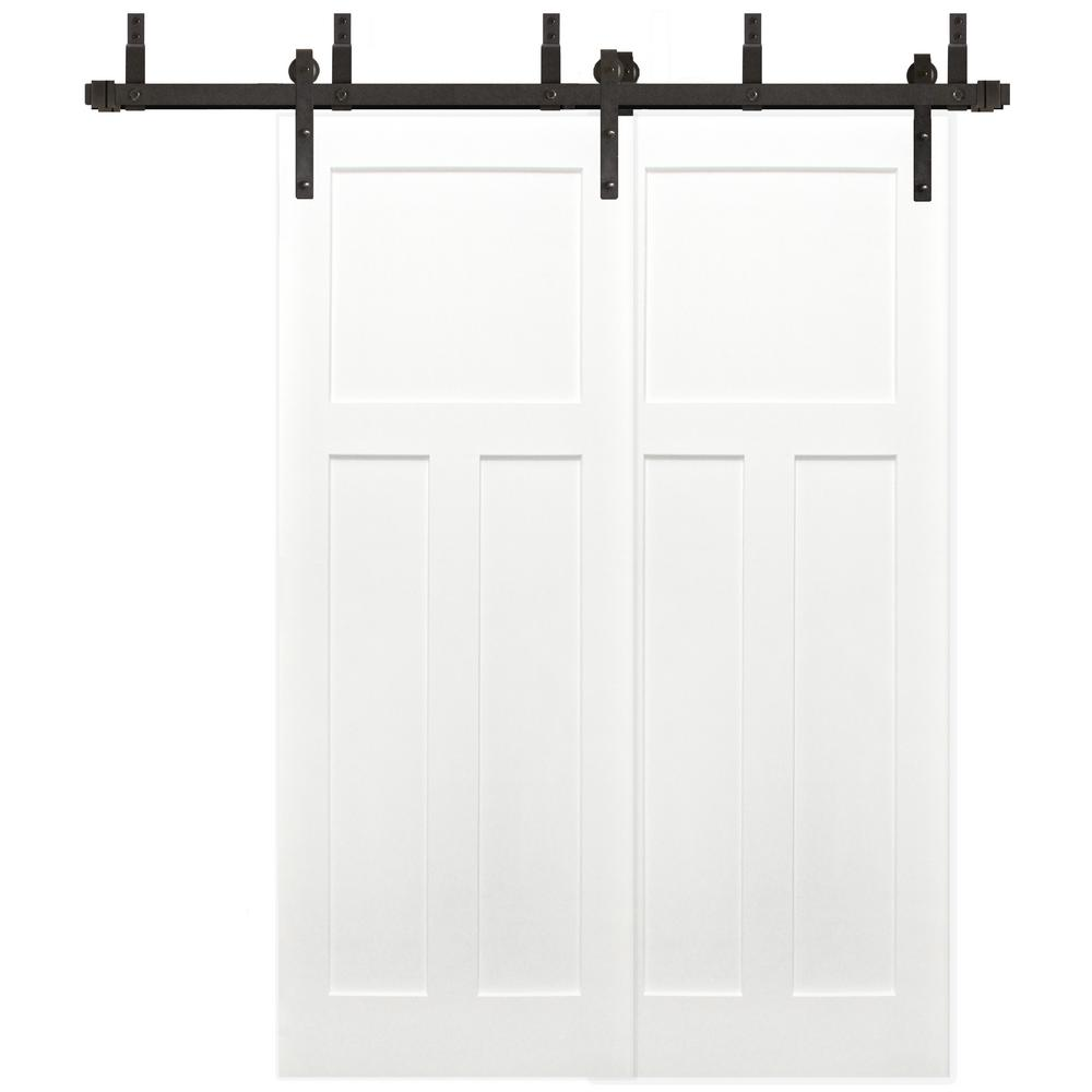 Pacific Entries 60 In X 80 In Bypass Unfinished 3 Panel Solid Core Primed Pine Wood Sliding Barn Door With Bronze Hardware Kit Byp2235 6080 10b Solid Wood Interior Door Barn Doors Sliding Barn Door
