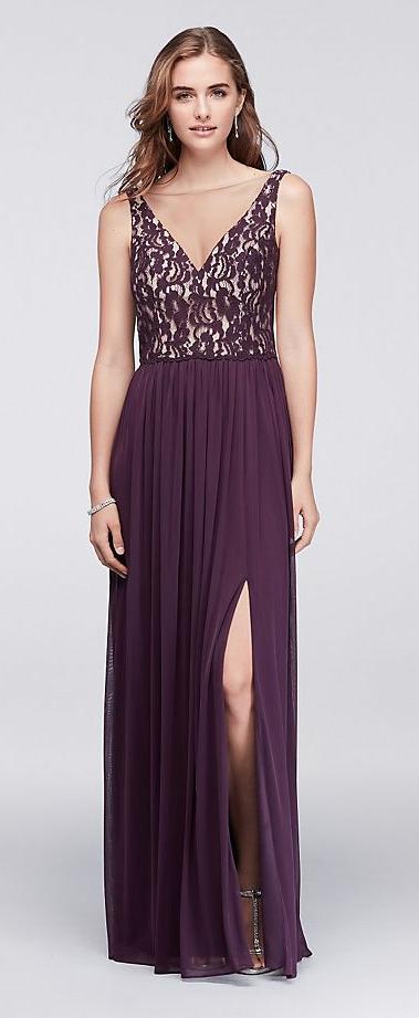bfbe2cb110e Illusion V-Neck Lace and Mesh Dress by David s Bridal  davidsbridal ...