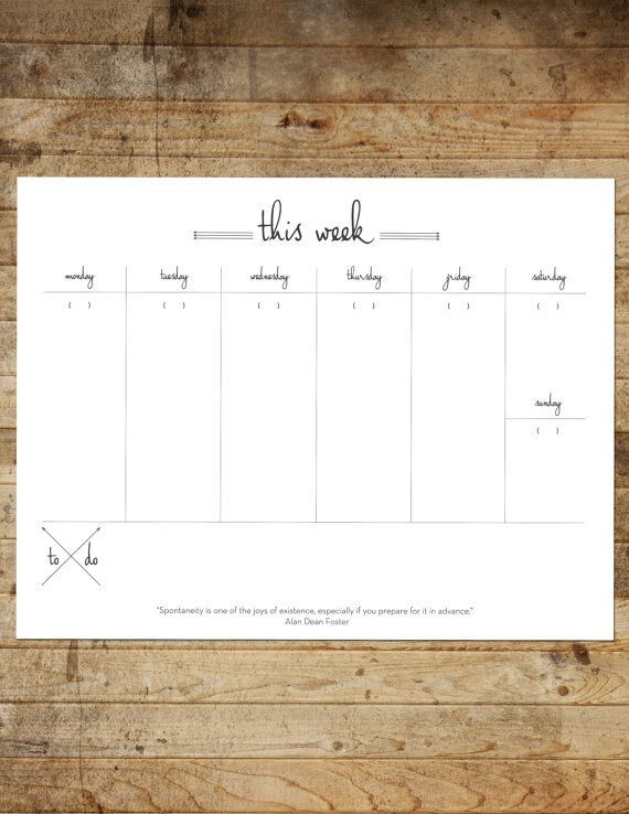 Instant Download Printable Weekly Planner By Frameworkprints  P