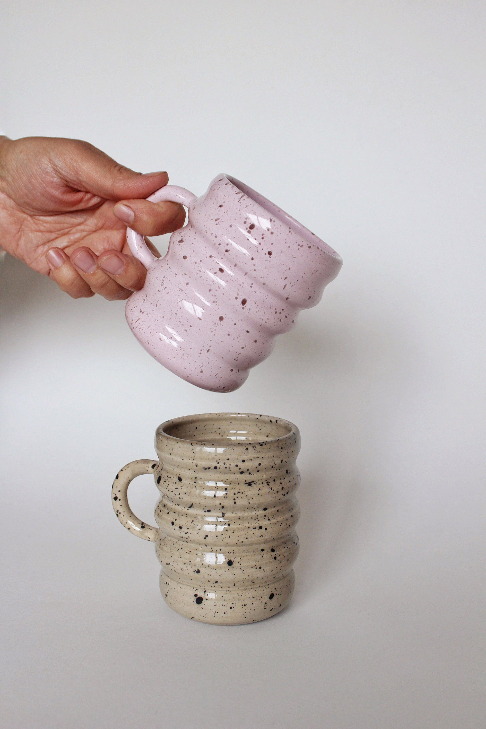 Large pottery pink coffee mug, Handmade pottery mugs, Ceramic coffee mug, Stoneware coffee mug, Unique coffee cup, Tea cup, Coffee gift #coffeecup