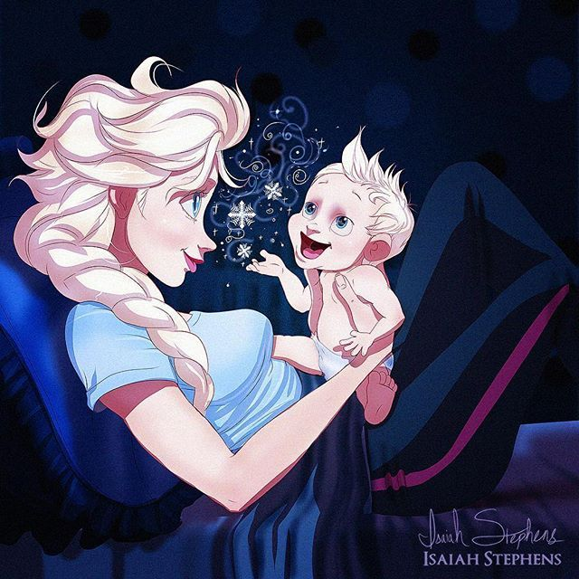 """Happy Mothers Day  My friends over at @cosmopolitan asked me to illustrate asset of Disney princesses (and one queen) as moms and moms to be! Here's what I came up with!  Here's Elsa! Her kid seems to have no problem """"letting it go"""" huh?"""