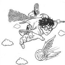 Harry Potter Catching Snitch Coloring Page Halloween Party Ideas