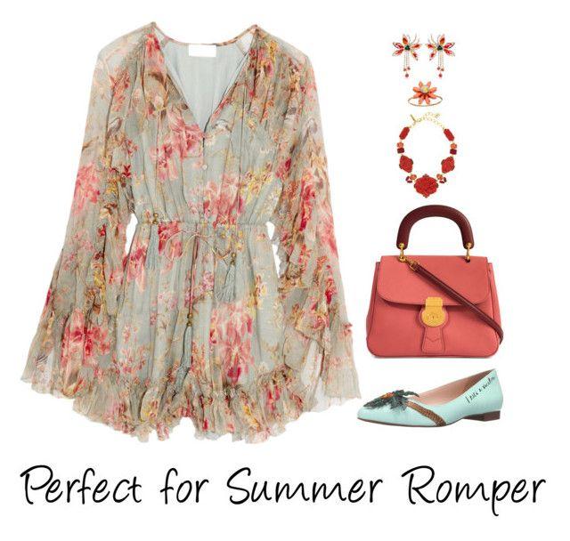 """Summer Romper"" by shamrockclover ❤ liked on Polyvore featuring Zimmermann, Shourouk, Burberry, Kate Spade, LC Lauren Conrad and Oscar de la Renta"