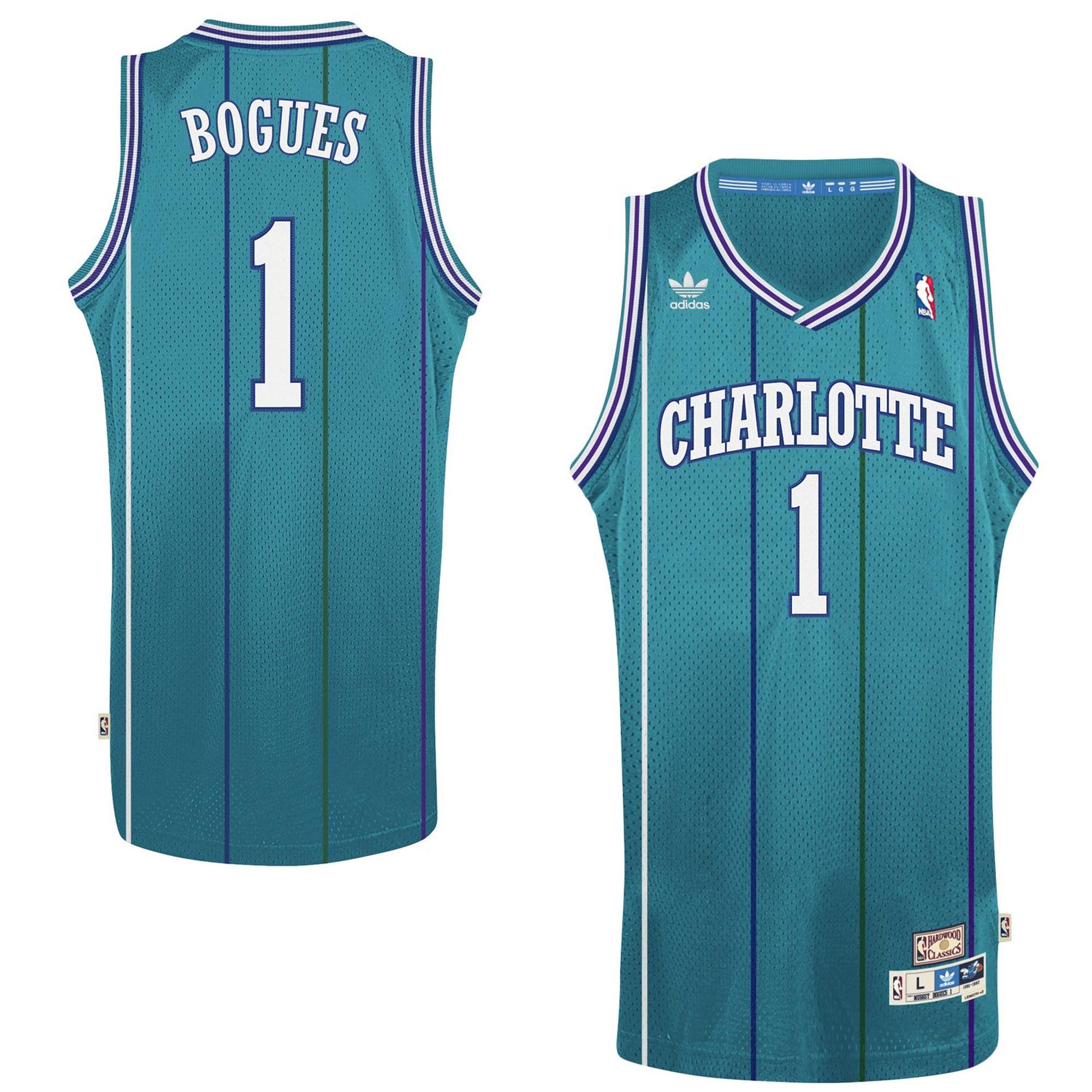 Mens Charlotte Hornets Muggsy Bogues adidas Teal Hardwood Classics Swingman  Jersey 1a55bfc34
