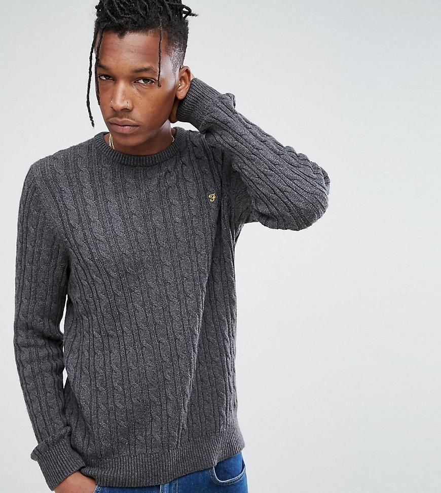 a12017e9bee Farah Ludwig Cable Knit Sweater in Dark Gray Marl - Gray | Cable ...