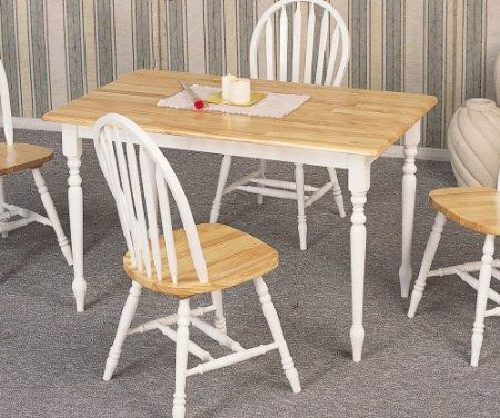 Country Butcher Block Oak and White Finish Wood Dining