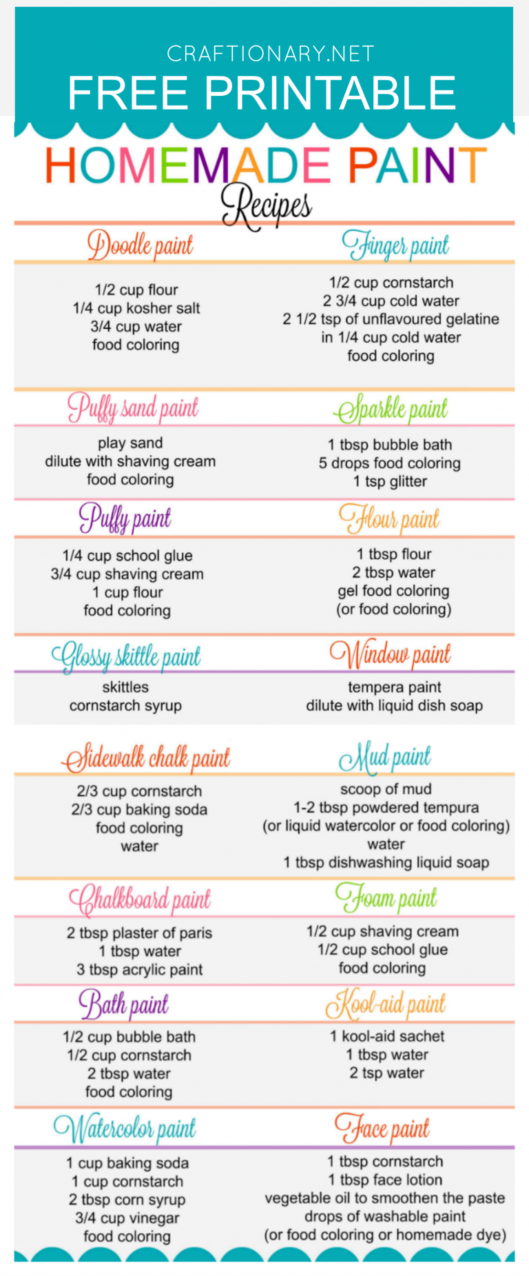 picture relating to Slime Recipe Printable identify Least difficult Handmade Paint Recipes Free of charge Printable for Little ones
