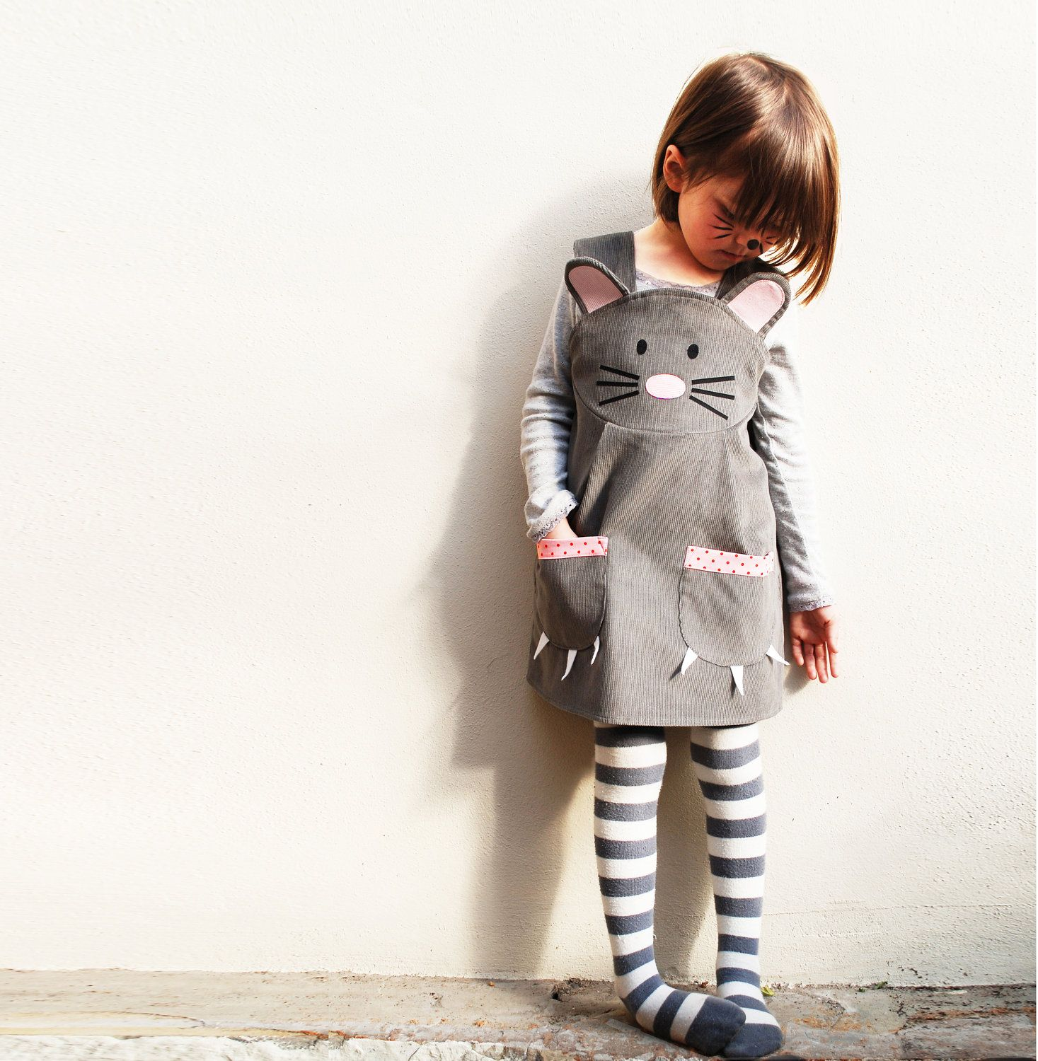Baby pink dungaree dress  Girls mouse animal dungaree dress  mouse costume handmade in the