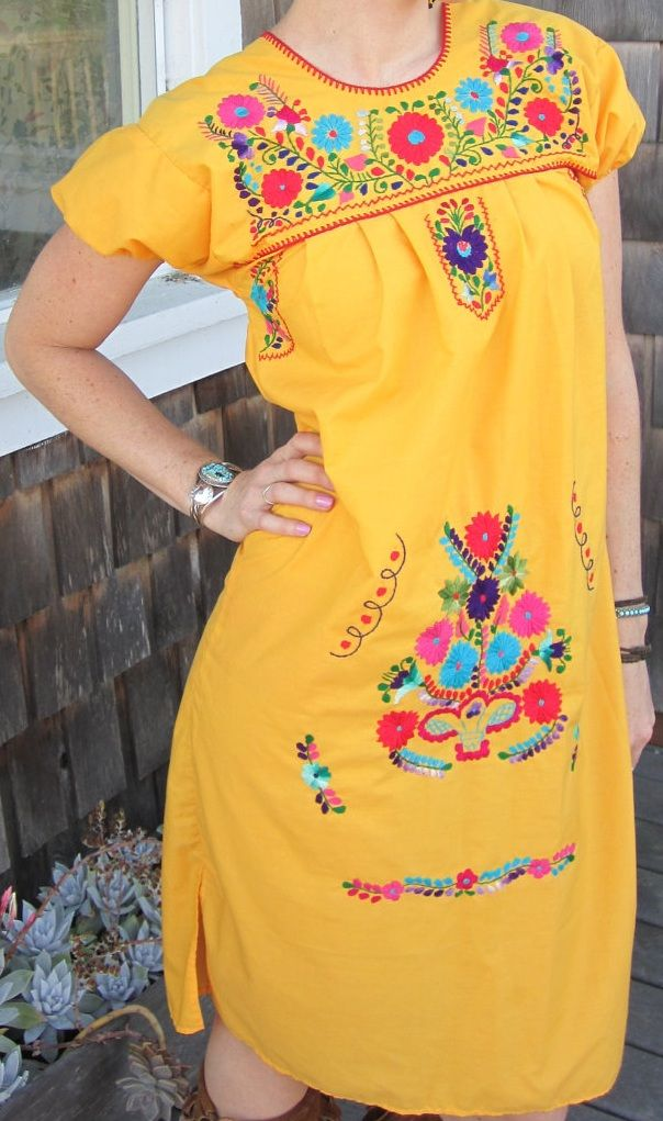 c7f4b2e0504 Brightly Colored Mexican Peasant Dress with Embroidery in 2019