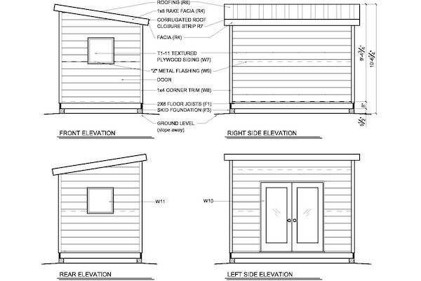 shed office plans. 8x12 Modern Shed Plans | Studio Office G