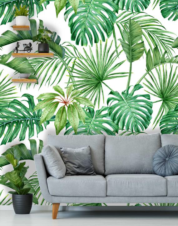 Removable Peel 'n Stick Wallpaper, Self-Adhesive Accent Wall Mural, Tropical Pattern, Nursery, Room Decor • Tropical Leaves Monstera Palms