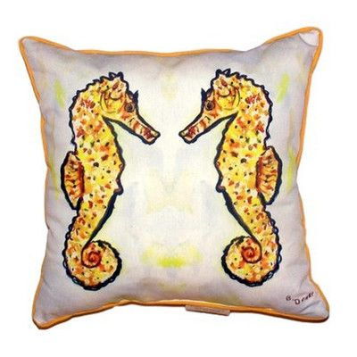 Betsy Drake Interiors Gold Sea Horses Outdoor Throw Pillow Size: Extra Large
