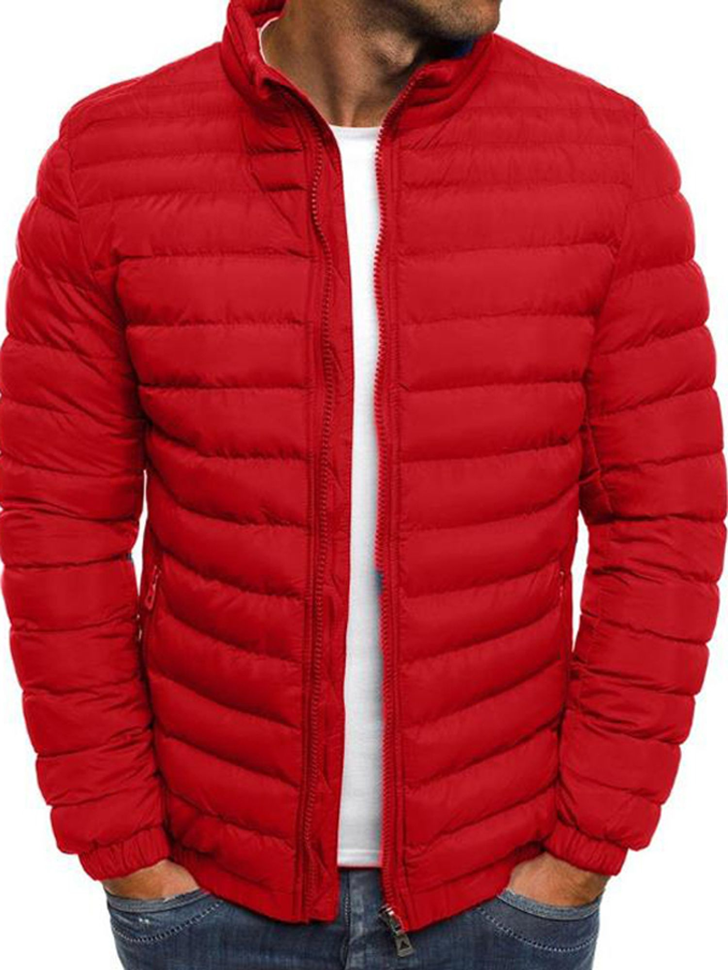 Men Full Zip Padded Hooded Coat Puffer Quilted Jacket Winter Warm Bomber Outwear