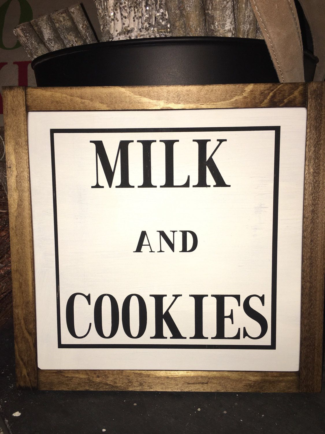 MILK AND COOKIES - Santa - Christmas - Kitchen - Rustic Decor - Home - Cozy - kids - family Handmade Painted Sign by Flippinugly on Etsy