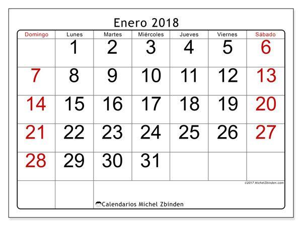 Calendario enero 2018 (62DS) | Pinterest | Calendario para imprimir ...