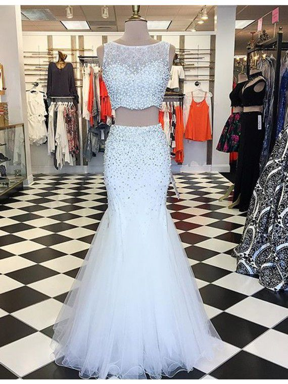 d8d2599d07 White Tulle Prom Dresses Mermaid Long Sleeveless Evening. Shinny Beaded Two- Pieces ...
