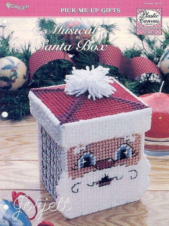 Musical Santa Box ~  plastic canvas pattern ~ TNS ~  Christmas decor to stitch