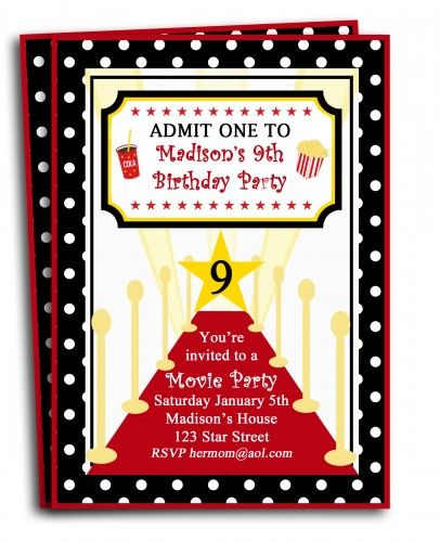 Red carpet movie invitation print yourself or buy them red carpet movie invitation print yourself or buy them commercially printed stopboris Choice Image