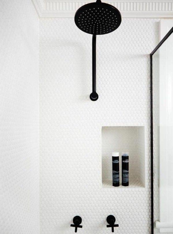 douche idées salle de bain Mosaïque mosaïque pastilles robinetterie