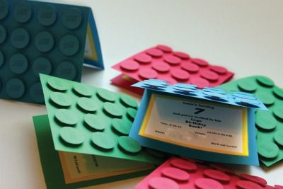 Lego theme invitations - you only need construction paper and foam stickers.