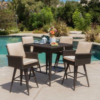 marbella outdoor 5 piece square wicker dining set with sunbrella rh pinterest com