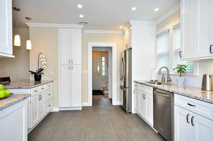 aspen white shaker kitchen cabinets grey tile floor grey countertop rh pinterest com
