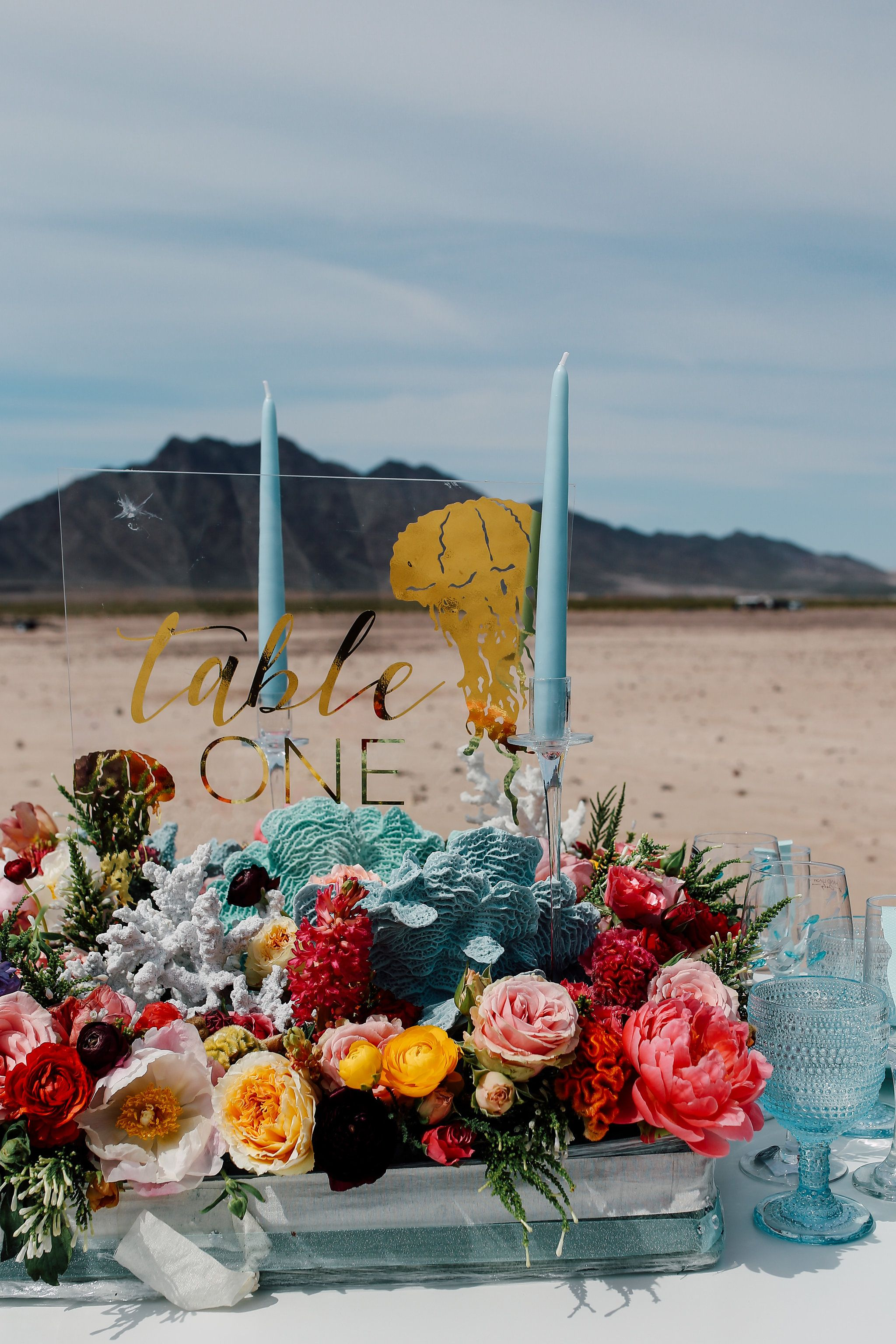 ocean themed wedding centerpiece and table number
