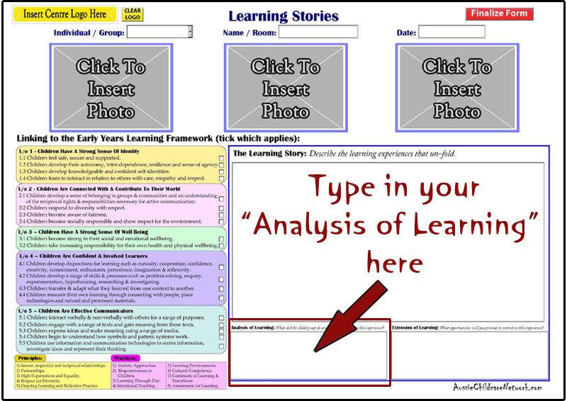 Learning Stories Template Available In Online Eylf Tools  Eylf