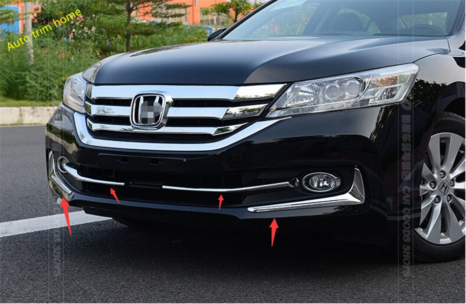 For Honda Accord 2013 2014 2015 Chrome Front Bottom Grill Cover Fog Lamp Eyebrow Cover Trim Honda Accord Grill Cover Fog Lamps