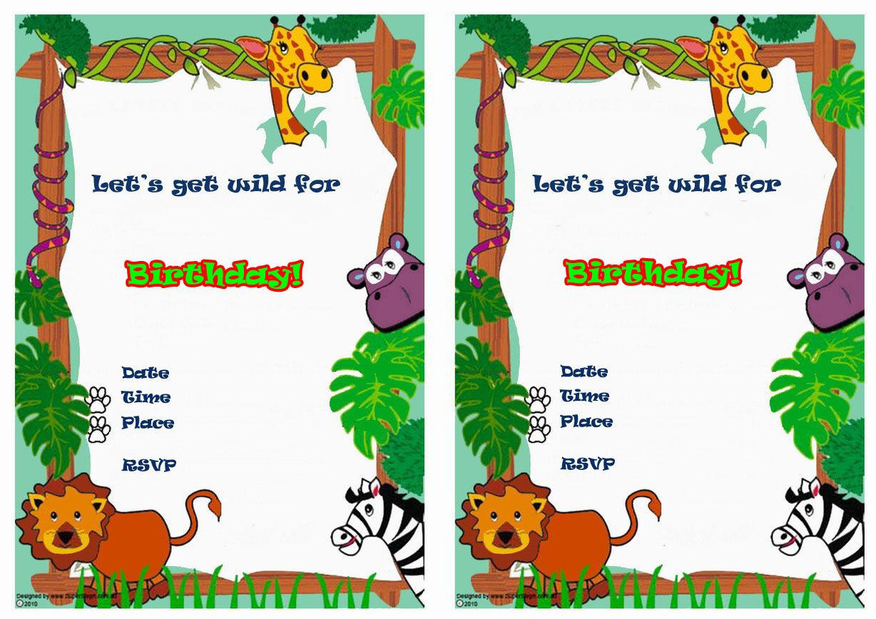 Animals FREE Printable Birthday Party Invitations | Free Printable ...
