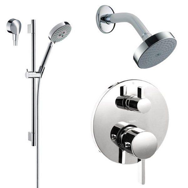 hansgrohe hgt201bn brushed nickel s shower system with volume control u0026 diverter trim