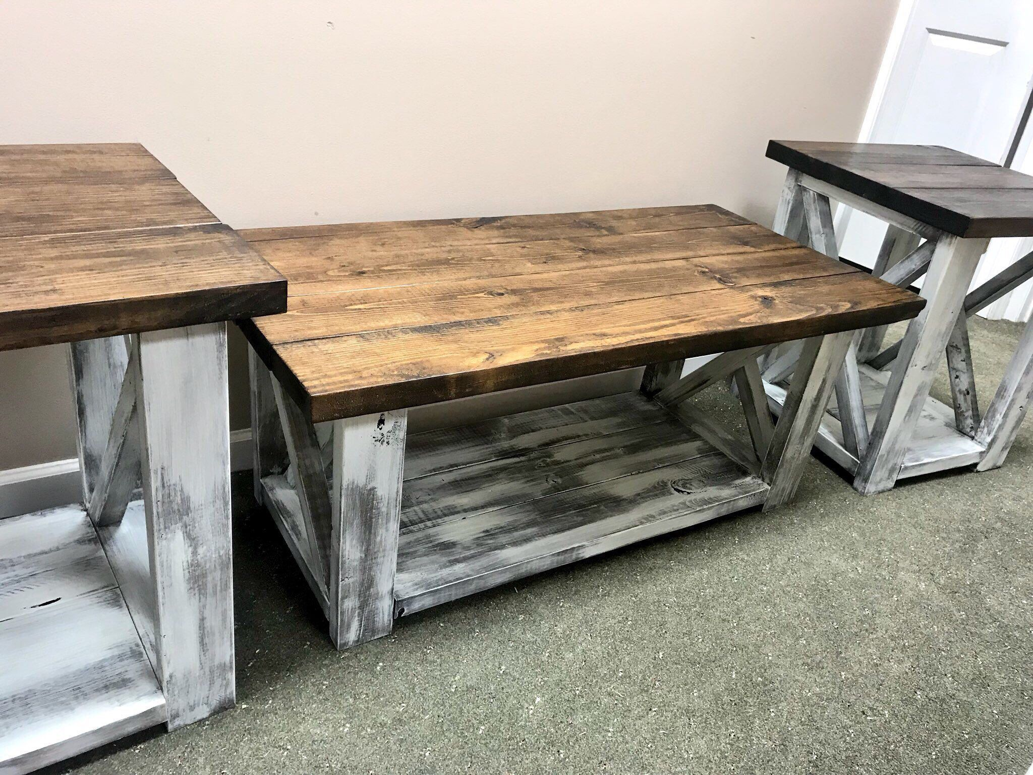Excited To Share This Item From My Etsy Shop Farmhouse Living Room Set End Tables Set And Coffee Living Room Table Sets Farm House Living Room Coffee Table
