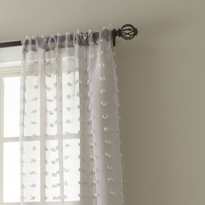 Aesara Solid Color Sheer Rod Pocket Curtain Panels Curtains