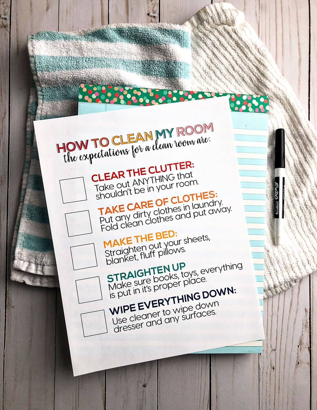 How to Clean Your Room Printable images
