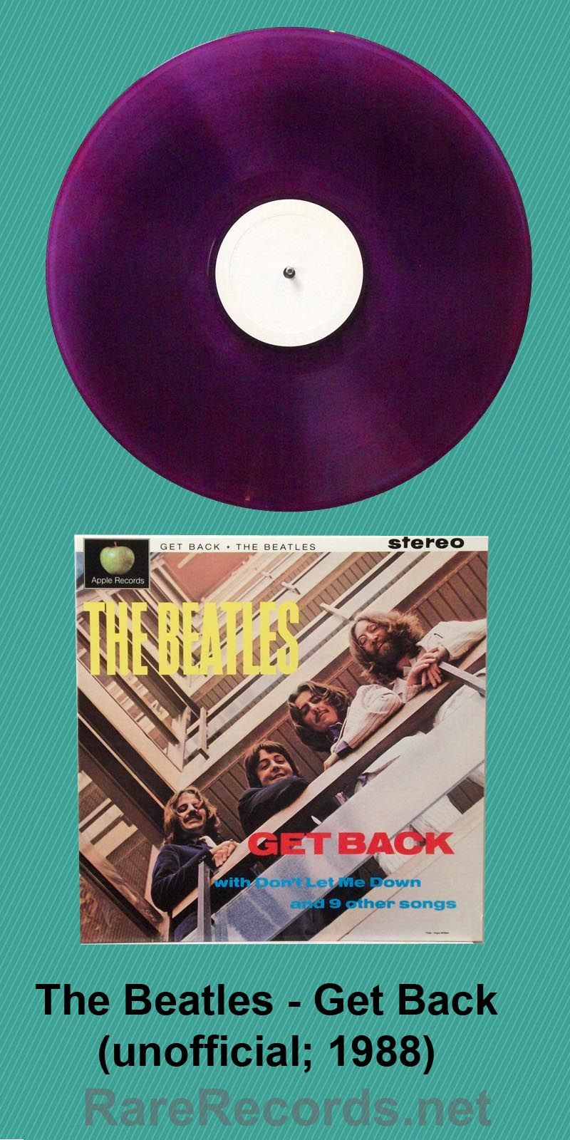 Unauthorized Colored Vinyl Limited Edition Pressing Of The Beatles Unreleased Get Back Lp Which Was Later Released In A The Beatles Vinyl Records Rare Records