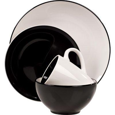 Milano Black Stoneware 16-Piece Dinnerware Set