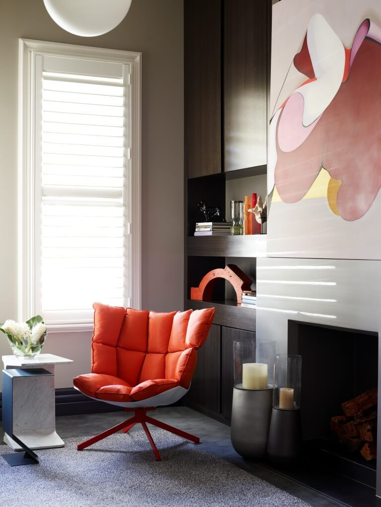 modern chairs for living room%0A Home in Kew by Canny Architecture