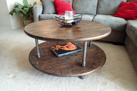 round rustic industrial pipe coffee table products in 2019 diy rh pinterest com