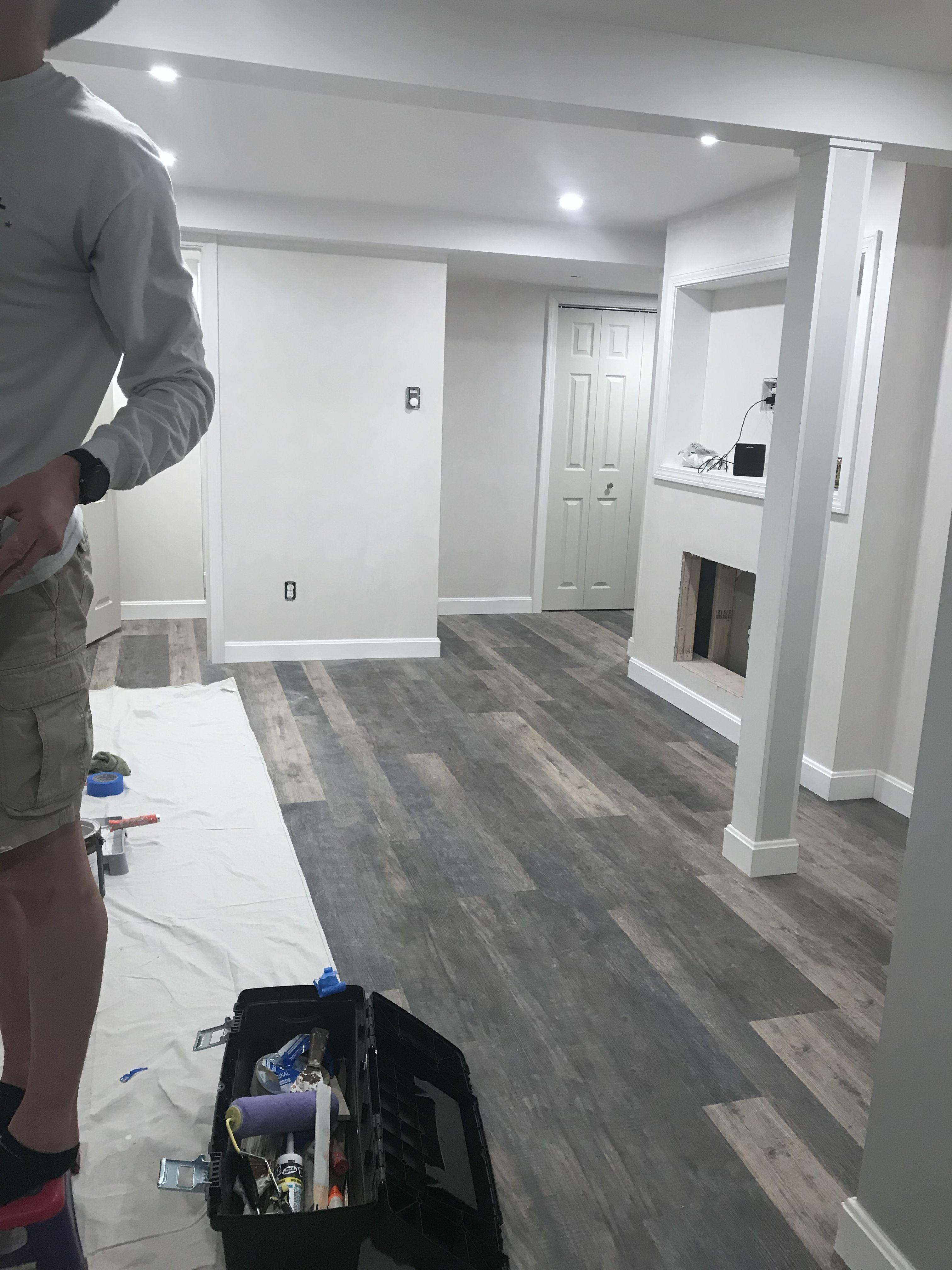 Finished Basement Remodel Vinyl Plank Flooring Basement