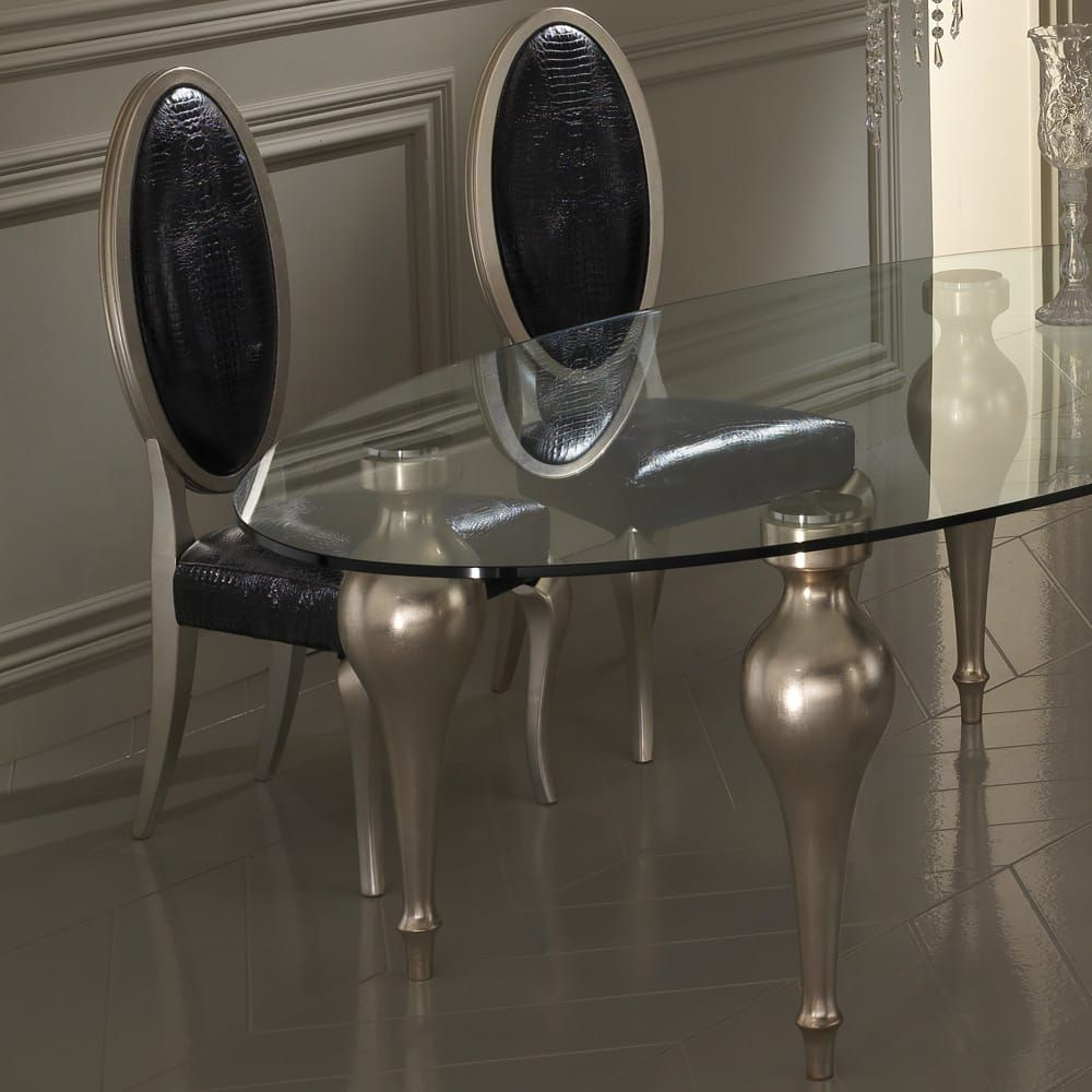 Italian Designer Oval Glass Dining Table And Chairs Set In 2020